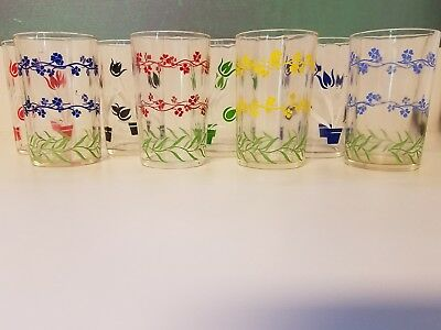Set of 7- (4) FORGET-ME-NOT (3) TULIP SWANKY SWIG GLASSES