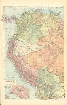 1901 Antique Map -  South America, Complete In 3 Maps