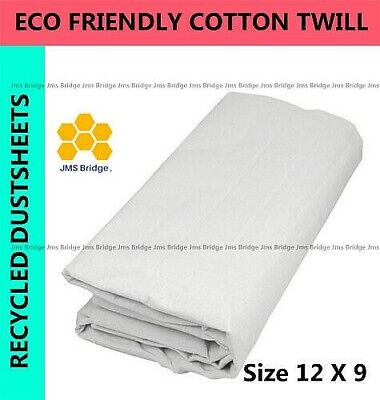 LARGE SIZE ECO  FRIENDLY COTTON TWILL DUST SHEET 12FT x 9FT (** PACK OF 5** )