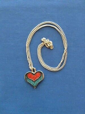 Native American Regalia*from Nakoda Girl* Coral Turquoise Inlay Heart  Necklace