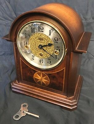 Lovely Franz Hermle Mahogany Arch Top Inlaid Walnut Mantel Clock Chiming