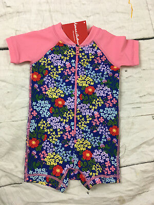 Hanna Andersson Baby Rash Guard Suit Pink Blue Floral Swimmy Size 70 6-12 NWT