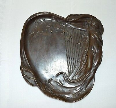 Antique Art Nouveau Cast Bronze Tray Lady In See Thru Gown With Harp & Florals