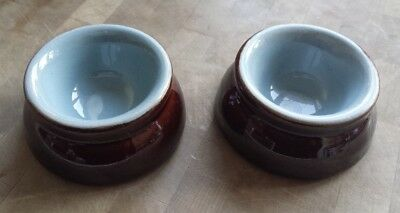 DENBY STONEWARE brown glazed butter/cream pots (a pair). VGood Used Condition.