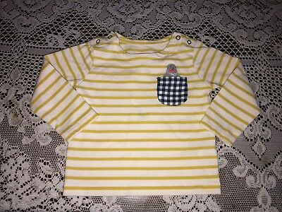Girls Baby Boden Yellow & White Striped Seal Pocket Long Sleeve Shirt 18-24 mo