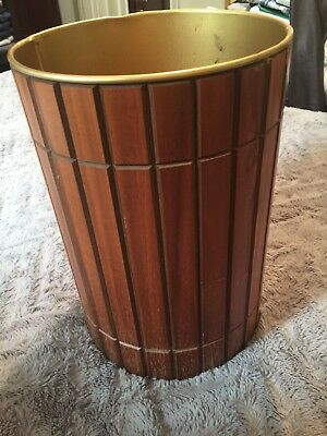 "Mid century Vintage Ransburg Trash Can Walnut Gruvwood Danish Modern 12"" tall"