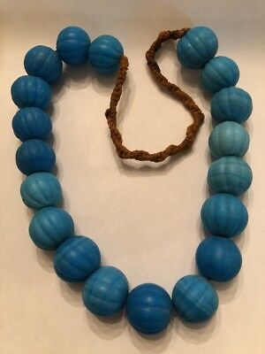"Large 16"" Antique Himalaya Hand Made Blue Glass Melon Trade Bead Strand"