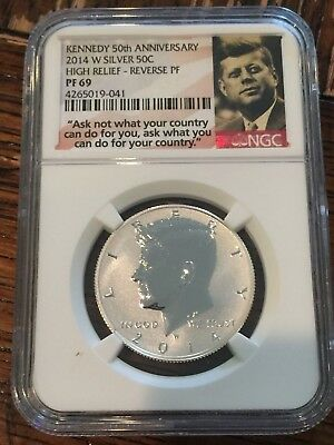 2014 W Reverse Proof Kennedy Silver Half Dollar Ngc Pf69 High Relief
