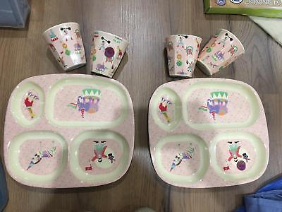 $100 RICE Melamine Set Girl Eating Tray & Cups (2 sets)