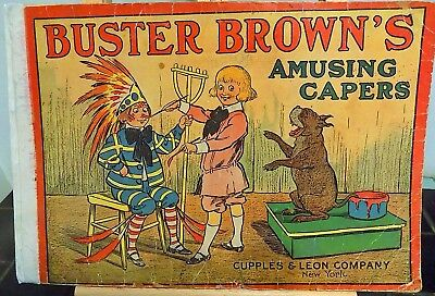 Original 1908 Oversize BUSTER BROWN AMUSING CAPERS Richard Outcault Cover SCARCE