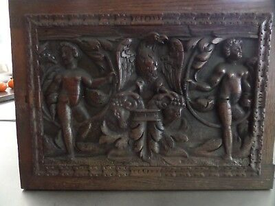 16th Century Carved Oak Armorial Panel Cherubs Rams and Eagle