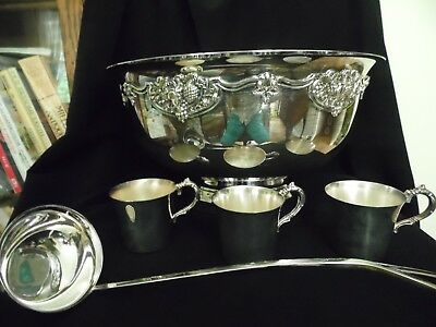 Huge Vtg Wallace 17 Silver Plate Harvest Punch Bowl with Ladle and 24 punch cups