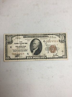 Series 1929 $10 The Federal Reserve Bank Of Philadelphia National Currency