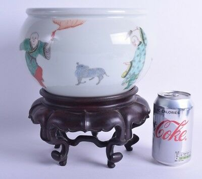 19th c large chinese famille verte porcelain bowl censer on stand poss kangxi