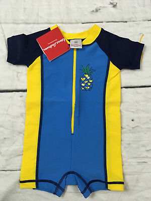 Hanna Andersson Baby Rash Guard Suit Swimmy Blue Pineapple Size 60 3-6 NWT
