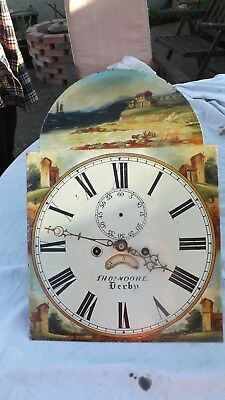 8 day Long Case Clock Movement and Dial Thomas Moore of Derby Good condition
