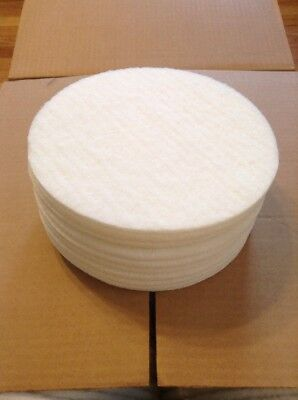 """White Floor Pads - 8"""" by 1/4"""" Floor Buffer  Polisher Polish Pads - PACK OF 10"""
