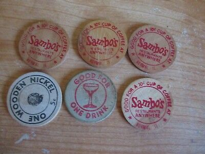 4 Vintage Sambo's Good For 10 Cent Cup of Coffee Token & Wooden Nickel Sambos