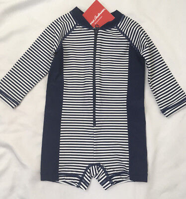 Hanna Andersson Baby Rash Guard Suit Swimmy Set Navy Stripe Size 60 3-6 NWT