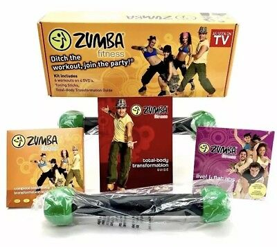Zumba Fitness DVD Pack 6 Workouts on 4 discs Toning Sticks Exercise Dance Health