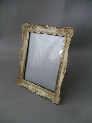 SHABBY VTG CHIC OFF WHITE & GOLD METAL w CONVEX GLASS TABLE PICTURE FRAME