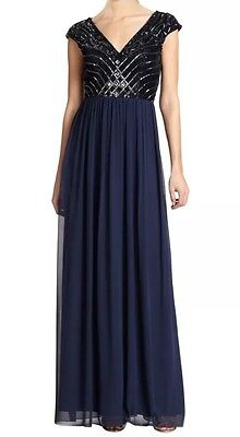 Aidan Mattox Navy Blue Sequin Embellished Top Evening Gown (maternity Friendly)