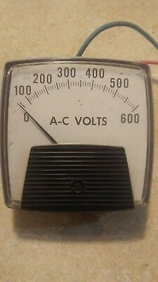 General Electric 0-600 AC Voltmeter WITH 4 position dial (1-2, 2-3, 3-1)
