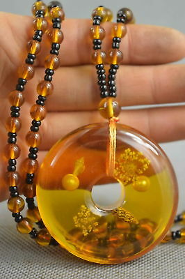Fine Collectable Handwork Inside Amber Inlay Flower Lucky Fashion Noble Necklace
