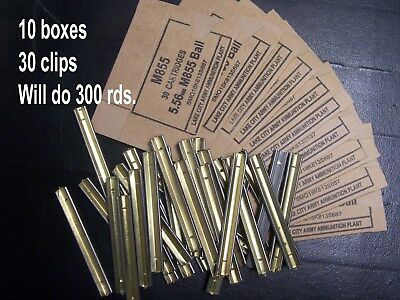 (10 ct) 5.56 cardboard ammo box & clips M855 Lake City reload storage boxes 223