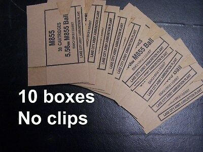 (10 ct) 5.56 cardboard ammo box NO CLIPS M855 Lake City reload storage boxes 223