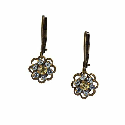 Caroline Heath Small Flower Earrings, Antique Brass Drop Gray and Yellow Crystal