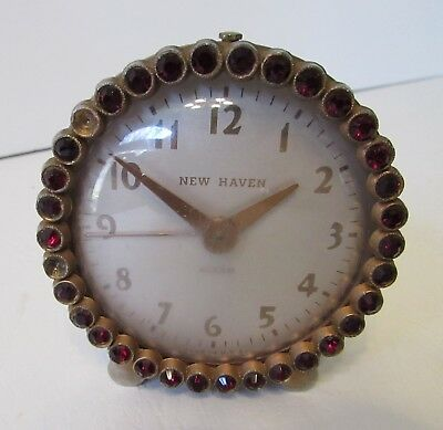 Vintage 1940's New Haven Alarm Clock, Rhinestone Clock, Working