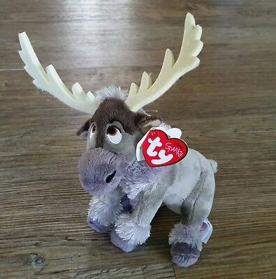 "TY Beanie Baby 5/"" SVEN Reindeer Disney Frozen Plastic Key Clip New w// Heart Tags"