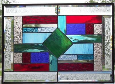 "•WRAPPED UP  •Beveled Stained Glass Window Panel • 20 1/2""x 14 1/2"""