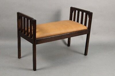 Circa 1910 Antique Arts and Crafts Mission Bench with Leather (11088)