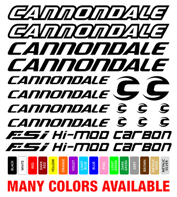 White Transfers Decals 0968 Cannondale Fatty Bicycle Stickers