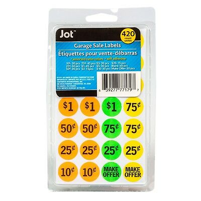 Garage Sale  Stickers Labels  Assorted. 420Ct Neon Color Self Adhesive