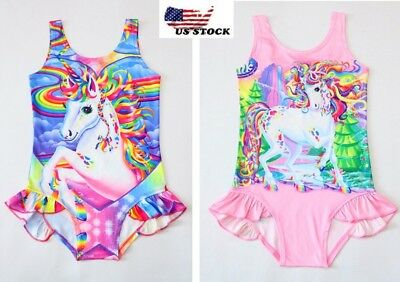 Children's Girls Unicorn Rainbow Swimsuit Swimwear Bathing swimming Bikini O29