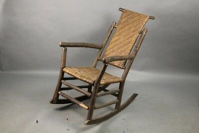 Circa 1910 Arts and Crafts Mission Cottage  Tall Old Hickory Rocker (11118)