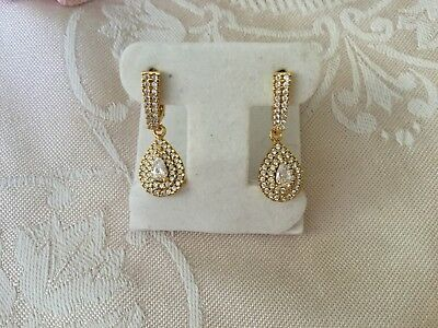 Antique vintage Gold Earrings with White Sapphires Art Deco Sapphire ear rings