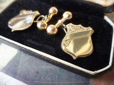 Antique vintage 9ct Gold cuff links shield and dumb bell cufflinks not engraved