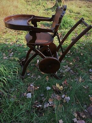 BIG SALE Antique Oak Folding High Chair and Stroller circa 1900 for REBORN CHILD