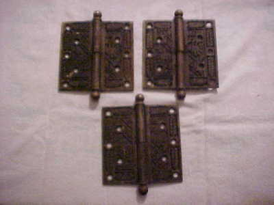 """3 Antique Eastlake Victorian Style Cast Brass 4-1/2"""" by 4-1/2"""" Door Hinges"""