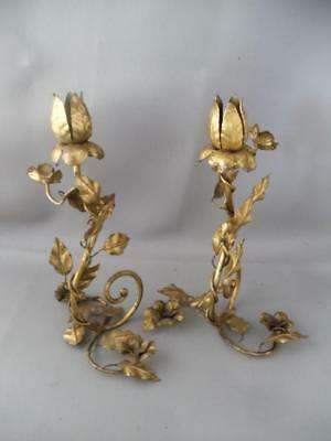 Antique Vtg Italian Gold Gilt Metal Tole Flowers Candle Holder Pair