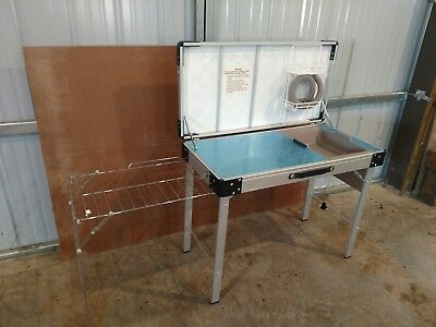 Vintage Coleman Kitchen Folding Camp Kitchen Game Table Top Used