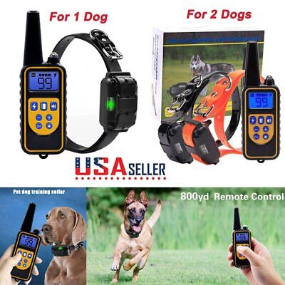 Electric Remote Dog Training Train Shock Collar 800 Yard Waterproof For 1 2 dogs