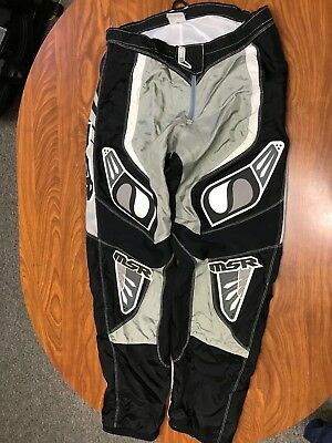 Mens Msr Black, White And Gray Axxis Off Road Motocross Padded Pants Size 38