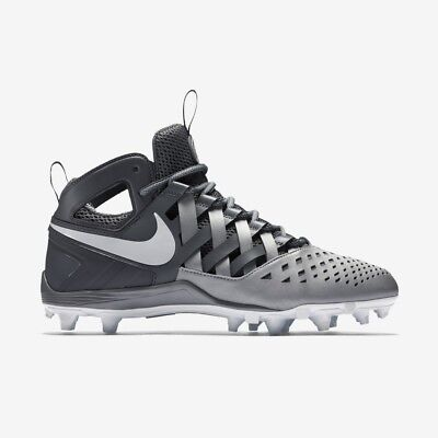 Nike Huarache V LAX Mid Lacrosse Cleats Cool Gray Size 11 New Football DEAL SALE