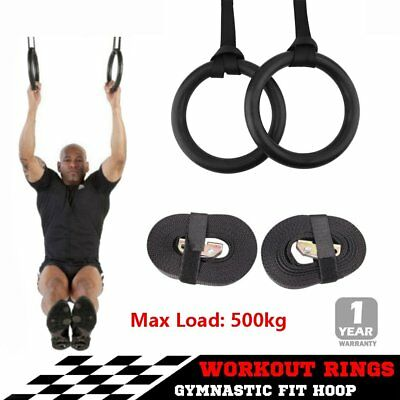 Gymnastic Gym Rings Hoop Crossfit Exercise Fitness Home Workout Dip Pair Bars PP