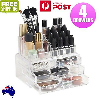 Holder Cosmetic Makeup Organizer 4 Drawer Storage Jewellery Box Clear Acrylic BO